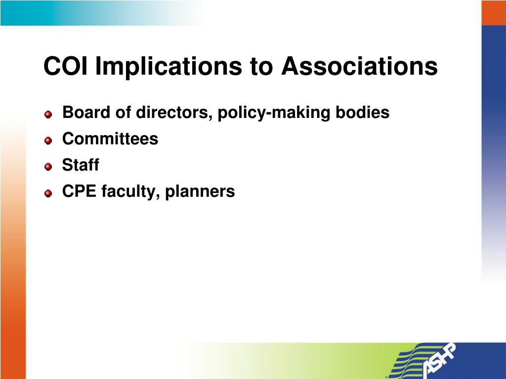 COI Implications to Associations