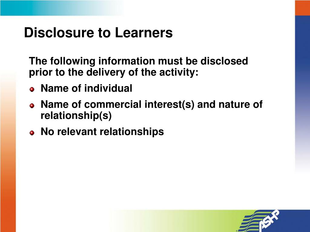 Disclosure to Learners