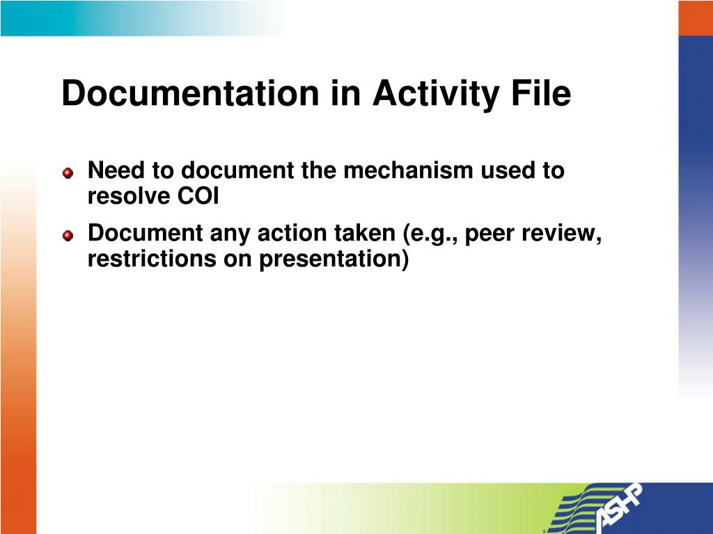 Documentation in Activity File