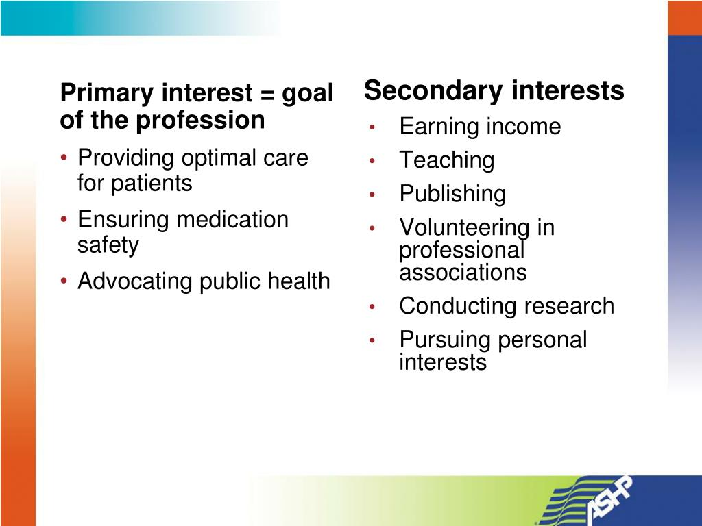 Primary interest = goal of the profession