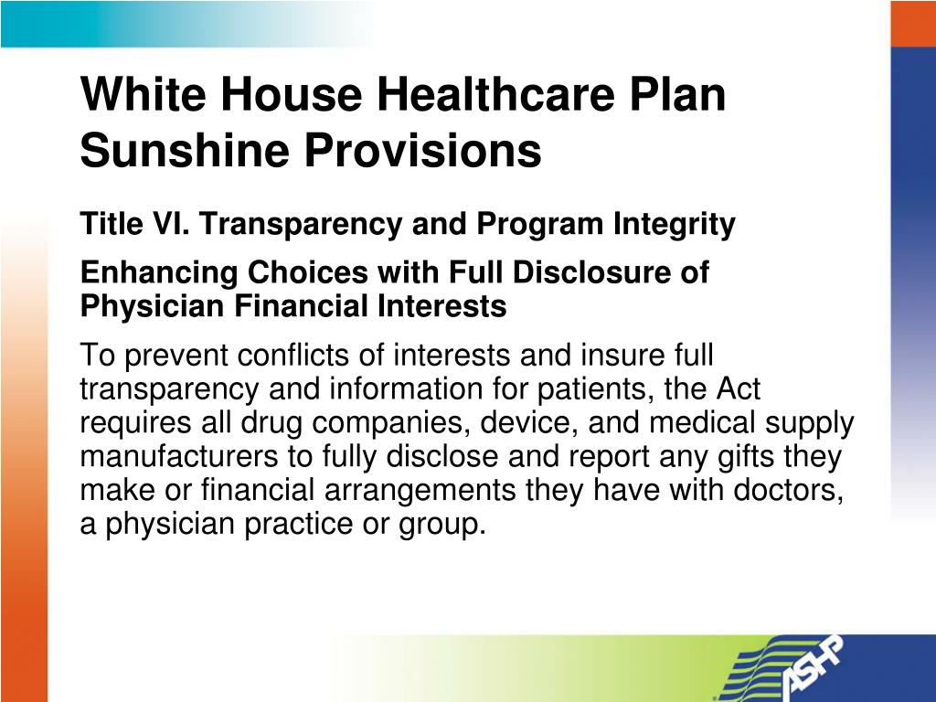 White House Healthcare Plan Sunshine Provisions