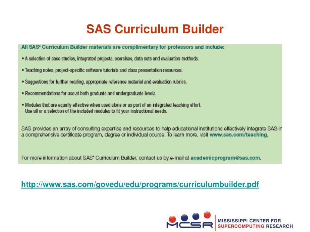 SAS Curriculum Builder