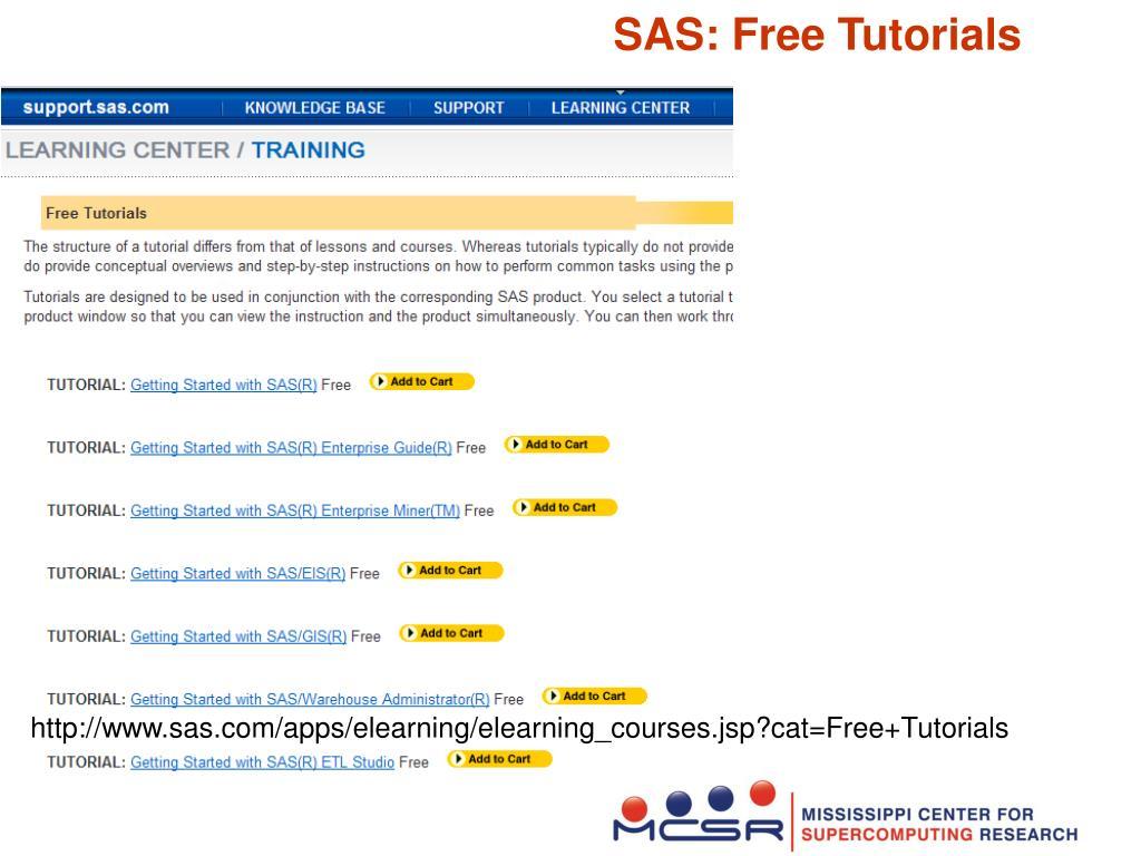 SAS: Free Tutorials
