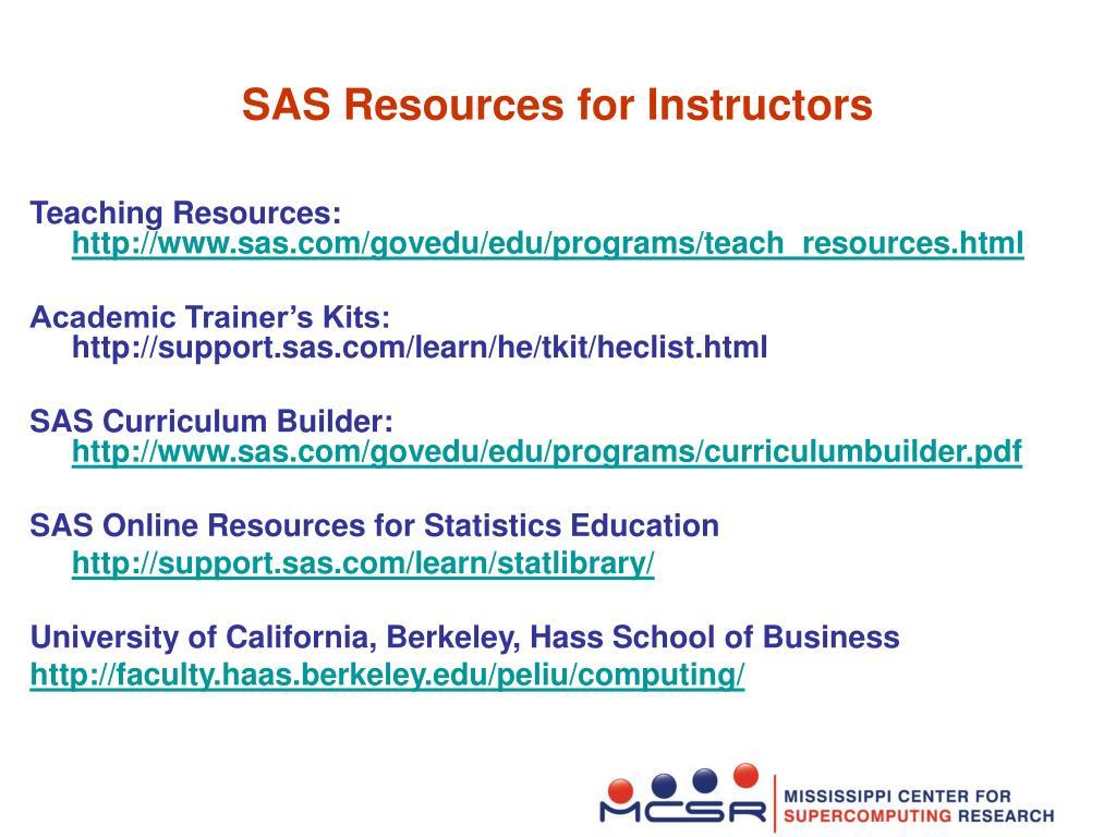 SAS Resources for Instructors
