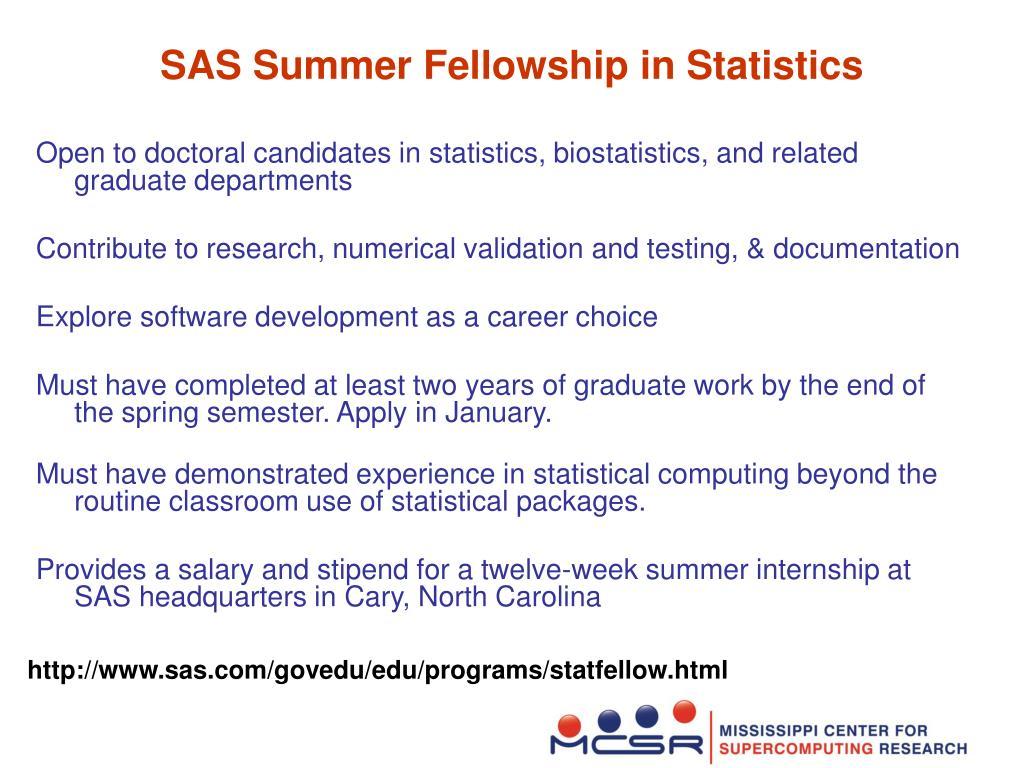 SAS Summer Fellowship in Statistics