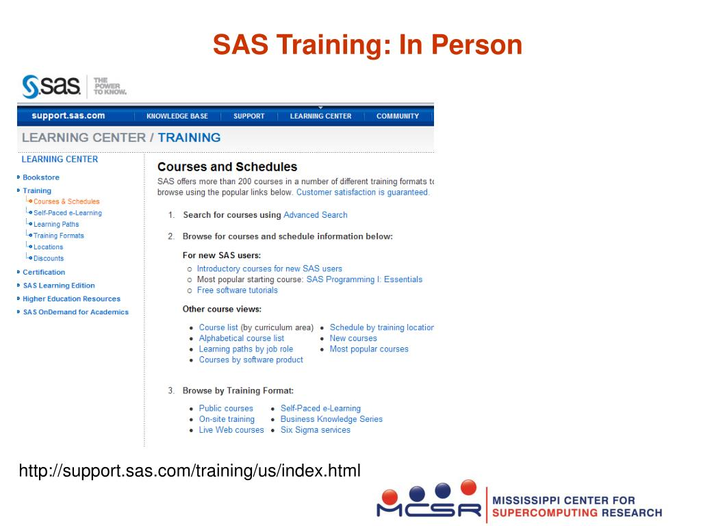 SAS Training: In Person