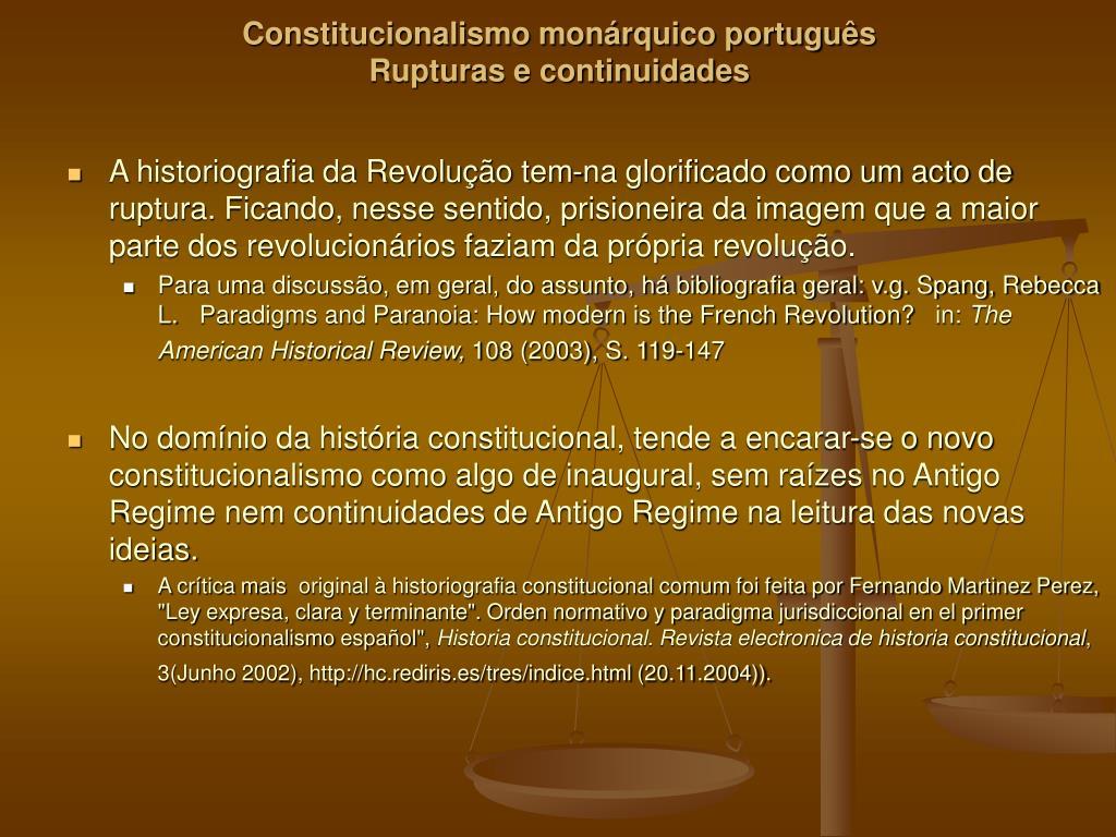 constitucionalismo mon rquico portugu s rupturas e continuidades l.