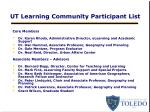 ut learning community participant list