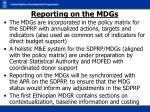 reporting on the mdgs
