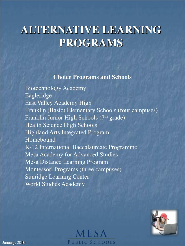 ALTERNATIVE LEARNING PROGRAMS