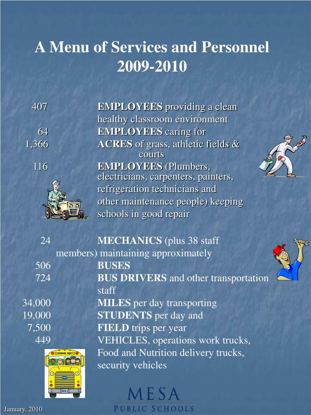 A Menu of Services and Personnel