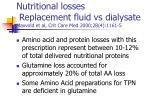 nutritional losses replacement fluid vs dialysate maxvold et al crit care med 2000 28 4 1161 5