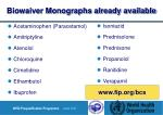 biowaiver monographs already available