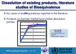 dissolution of existing products literature studies of bioequivalence