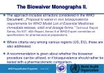 the biowaiver monographs ii