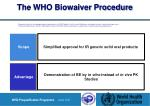 the who biowaiver procedure