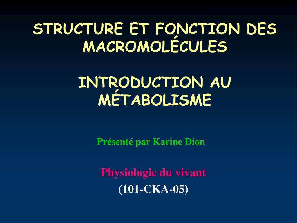 structure et fonction des macromol cules introduction au m tabolisme l.
