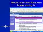 module area online resources module reading list