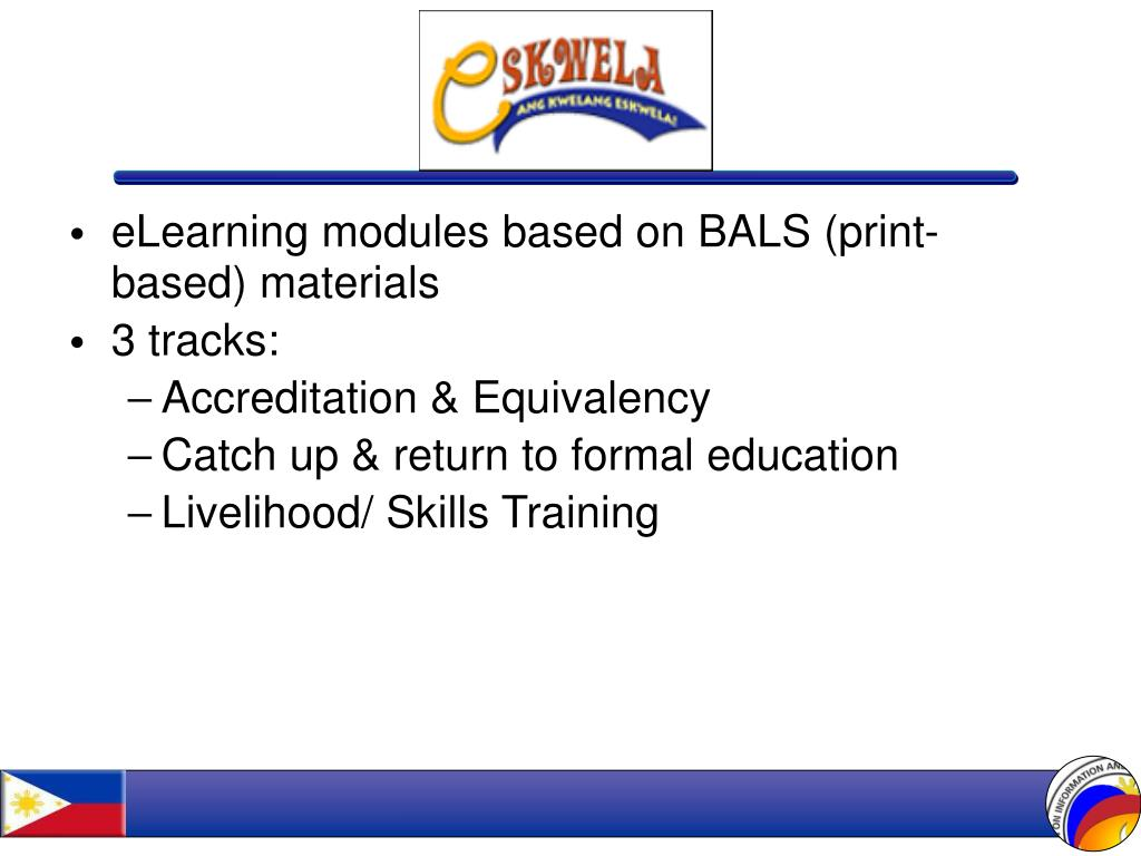 eLearning modules based on BALS (print-based) materials