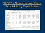 spect stress farmacol gico sensibilidad y especificidad
