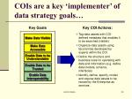 cois are a key implementer of data strategy goals