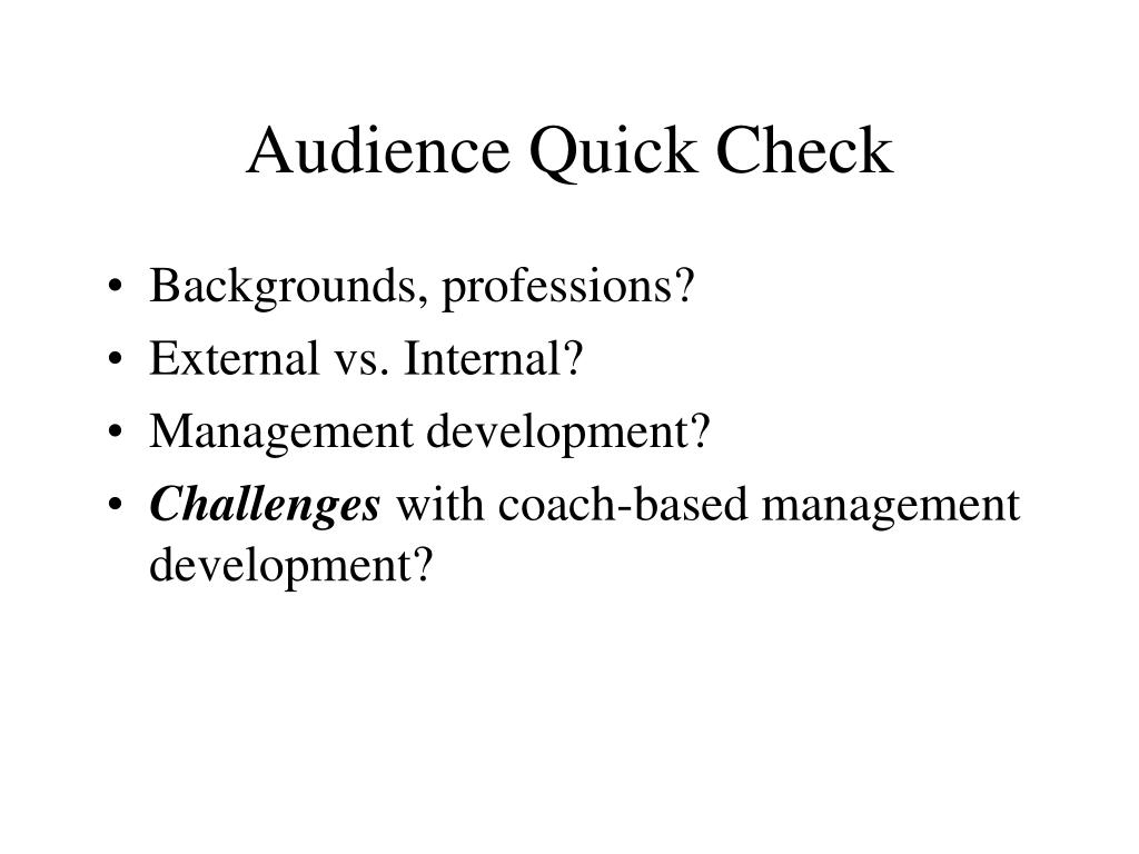 Audience Quick Check
