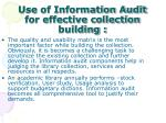 use of information audit for effective collection building