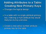 adding attributes to a table creating new primary keys