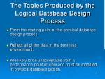 the tables produced by the logical database design process