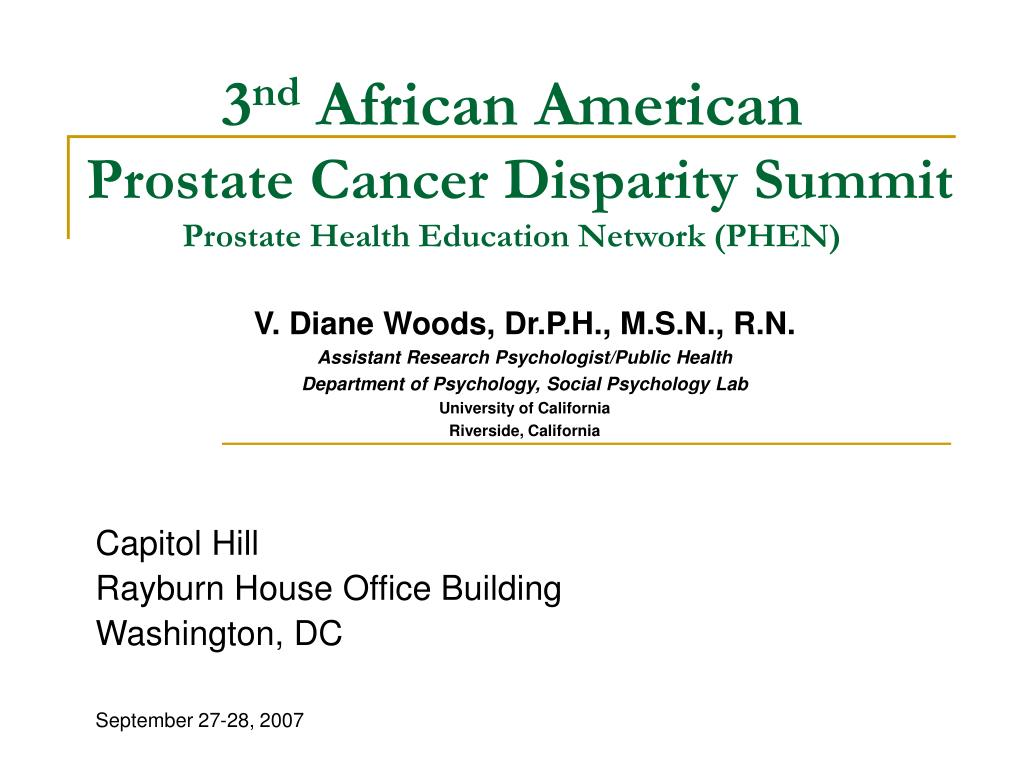 3 nd african american prostate cancer disparity summit prostate health education network phen l.