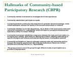 hallmarks of community based participatory research cbpr