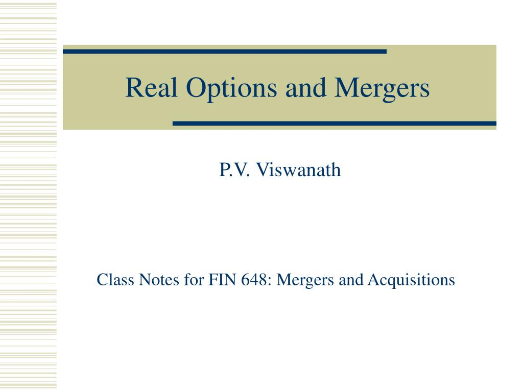 real options and mergers l.