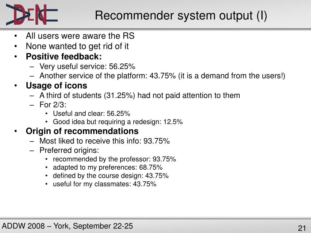 Recommender system output (I)