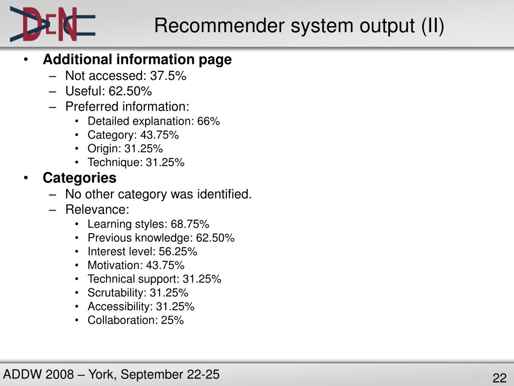 Recommender system output (II)