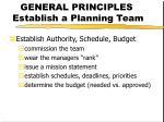 general principles establish a planning team13