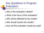 key questions in program evaluation