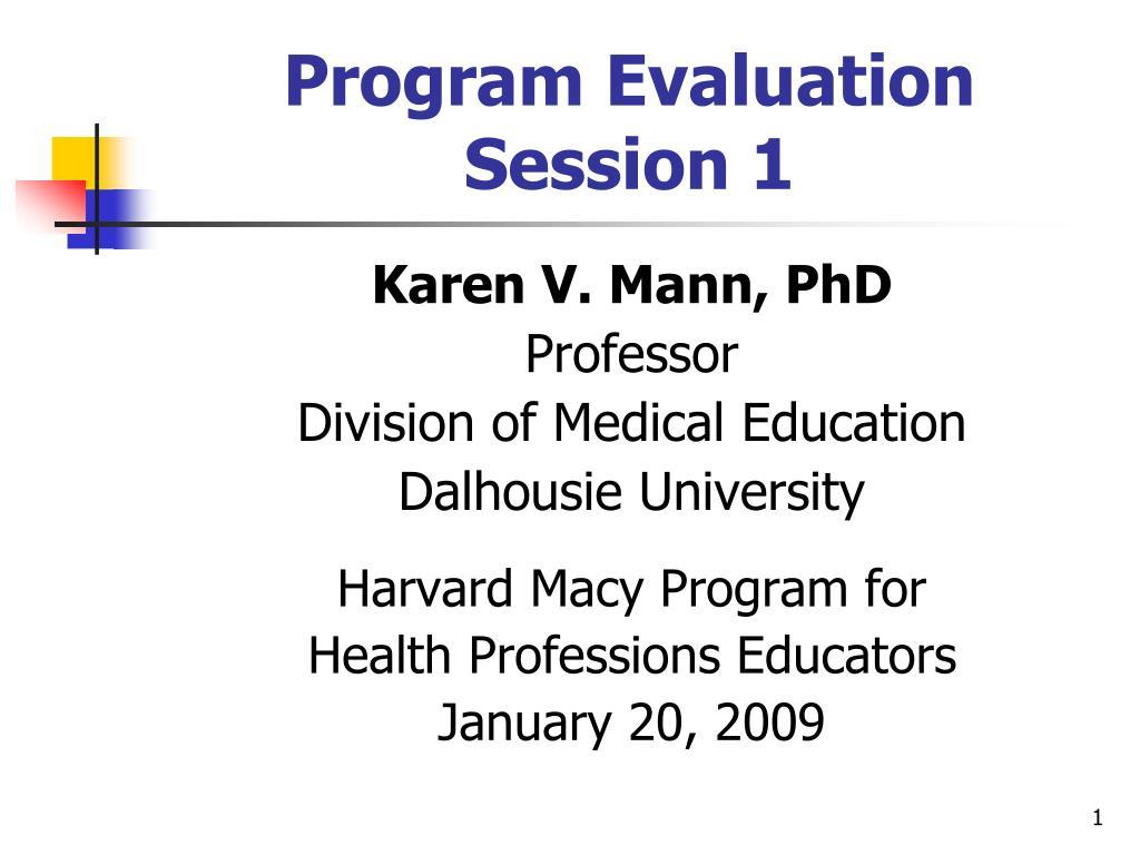 program evaluation session 1 l.