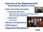 overview of the department ou responsibilities mission goals1