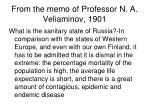 from the memo of professor n a veliaminov 1901