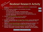 biodiesel research activity