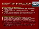 ethanol pilot scale activities