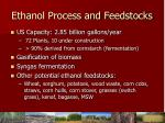 ethanol process and feedstocks