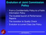 evolution of joint commission policy
