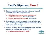 specific objectives phase i