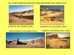 los cuatro desiertos de arena m s importantes que existen son