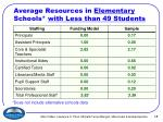 average resources in elementary schools with less than 49 students