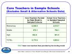 core teachers in sample schools excludes small alternative schools data