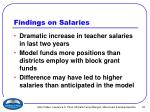 findings on salaries