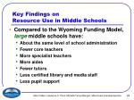 key findings on resource use in middle schools