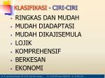 klasifikasi ciri ciri